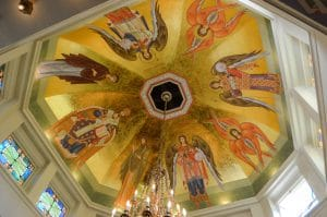 Newly painted icons of cathedral dome