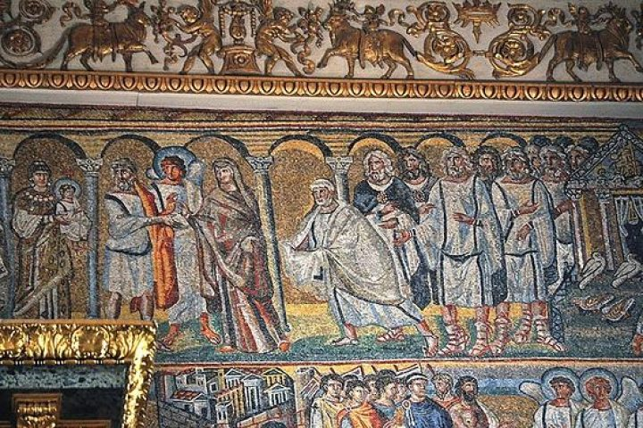 Presentation of the Lord. Mosaic triumphal arch of the Basilica of Santa Maria Maggiore in Rome. 432-440-years